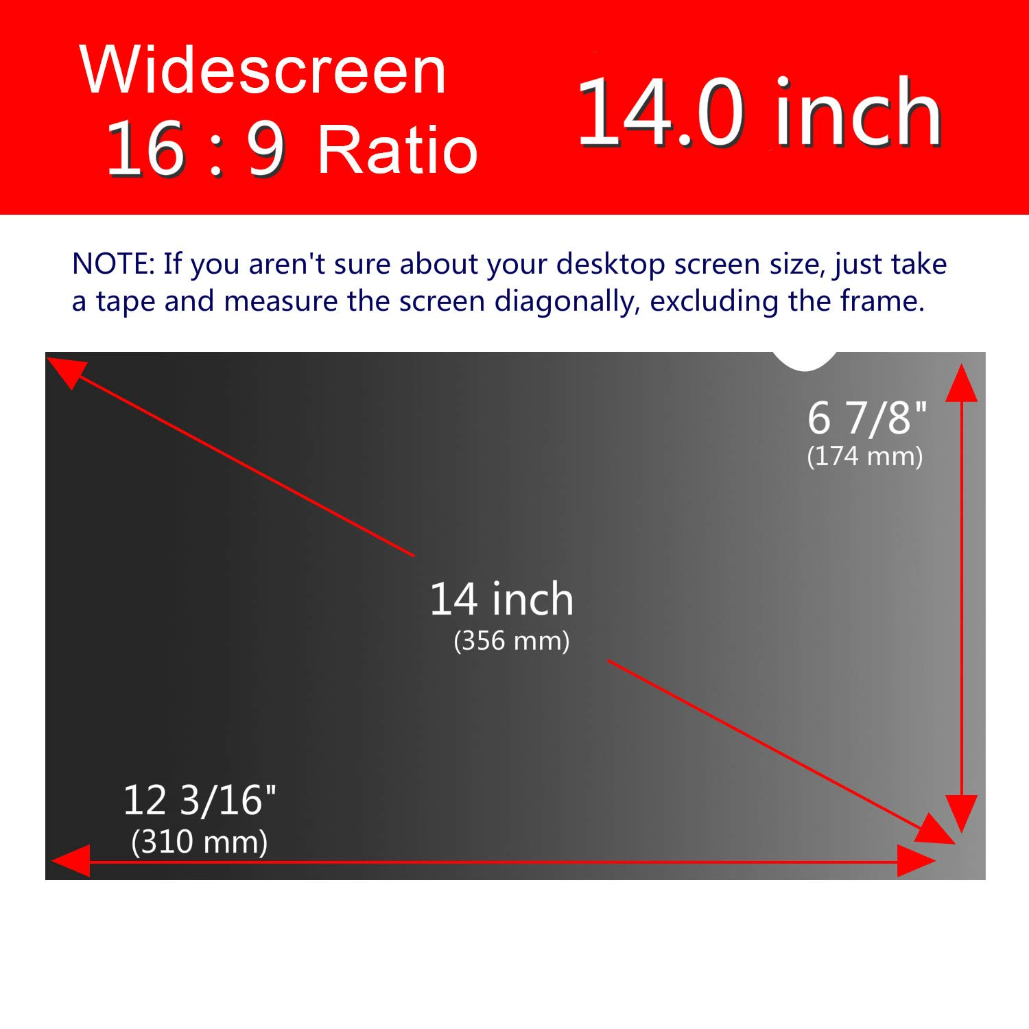 Magicmoon Privacy Filter Screen Protector, Anti-Spy&Glare Film for 14 inch Widescreen Notebook Laptop (14'', 16:9 Aspect Ratio) by Magicmoon (Image #6)