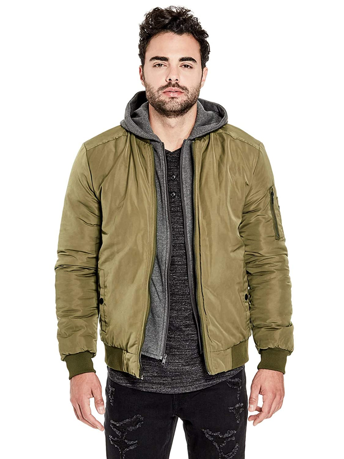 Guess Factory Men's Rick Hooded Bomber Jacket GuessFactory