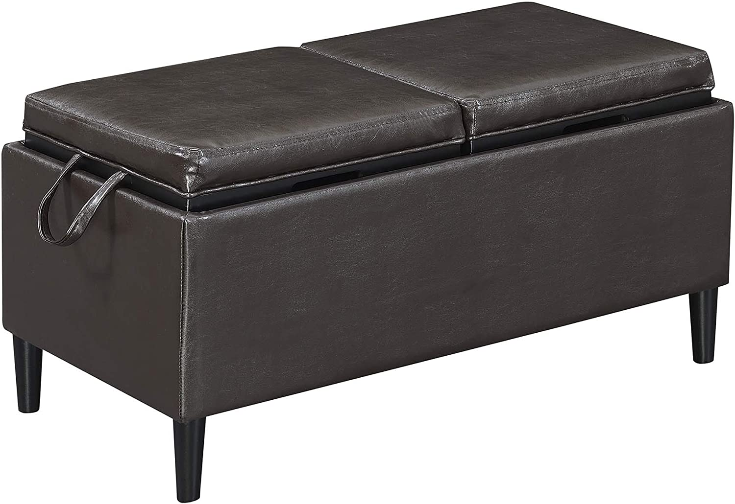 Convenience Concepts Designs4Comfort Magnolia Storage Ottoman with Trays, Espresso Faux Leather