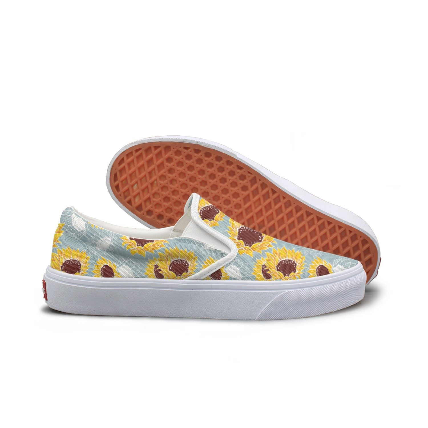 SEERTED Yellow Mammoth Sunflower On Gray Background Comfortable Sneakers for Women Wide Width