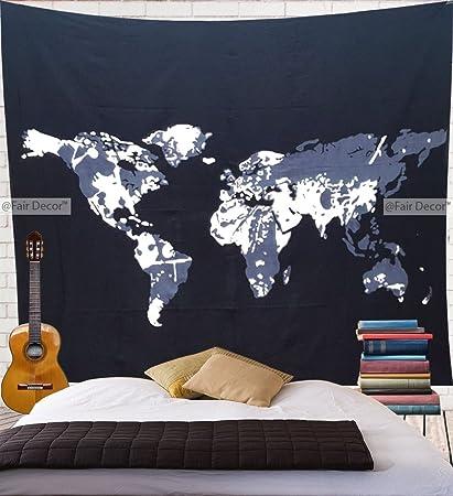 Amazon.com: fairdecor World Map Wall Tapestry Large Size 215 X 235 ...