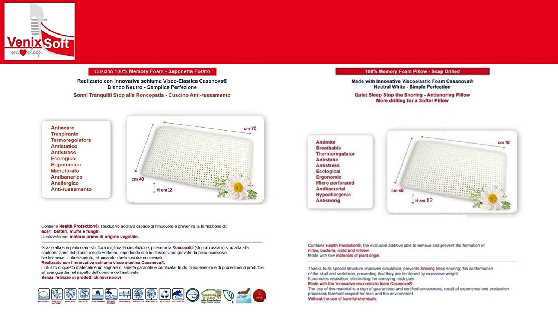 Anti Cervical venixsoft Par de Almohadas viscoel/ástica para Cama Espuma de momoria transpiracion Maxima Fabricado en Italia con Funda de Aloe Vera