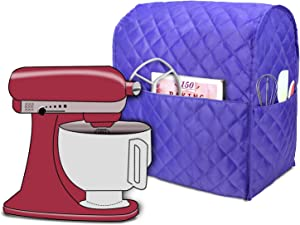 Luxja Dust Cover Compatible with 4.5-Quart and 5-Quart Stand Mixer, Cloth Cover with Pockets for Stand Mixer and Extra Accessories, Purple (Quilted Fabric)
