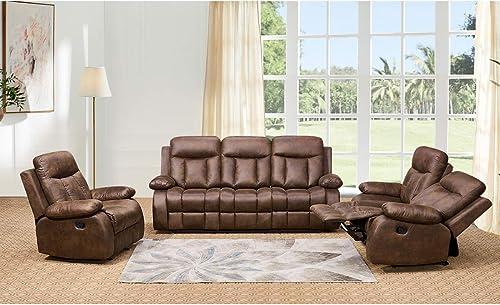 Betsy Furniture 3-PC Microfiber Fabric Recliner Set Living Room Set