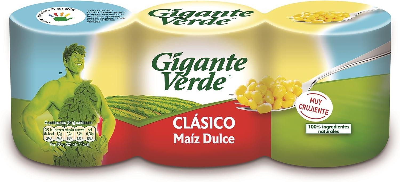 Gigante Verde - Clásico - Maíz dulce, 3 x 160 g