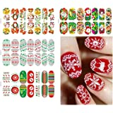 Buytra 6 Sheets Christmas Nail Art Stickers 3D Design Manicure Tips Decals Wraps Decoration for Women Girls including Snowflake, Xmas Tree, Reindeer, Santa Claus