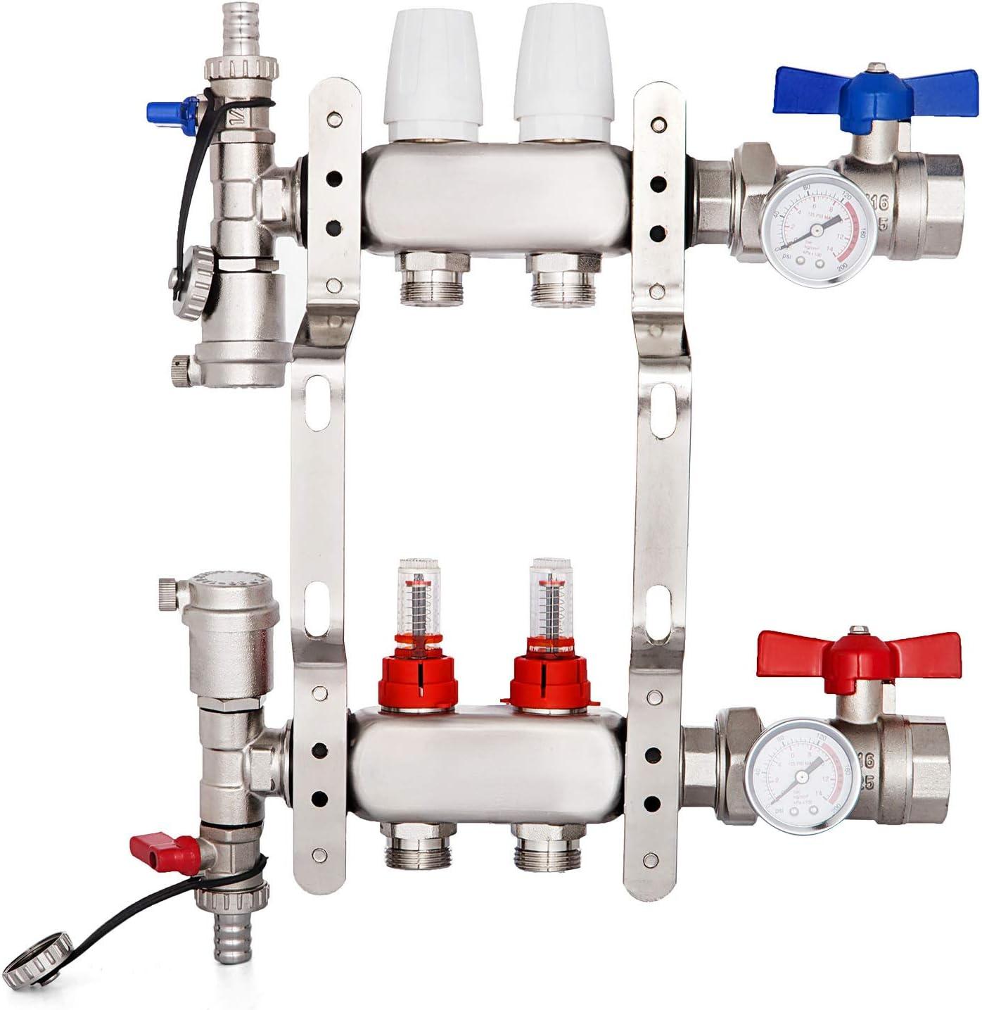"""BestEquip 2-Loop 1/2"""" Pex Manifold with Flow Meters Stainless Steel Radiant Floor Manifold Set 2-Branch Radiant Floor Heating Manifold Kit for 1/2 Inch PEX Tubing Manifold (2 Loop)"""