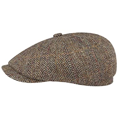 Stetson Hatteras Harris Tweed Wool Flat Cap Newsboy hat  Amazon.co.uk   Clothing ca56b12e7f1