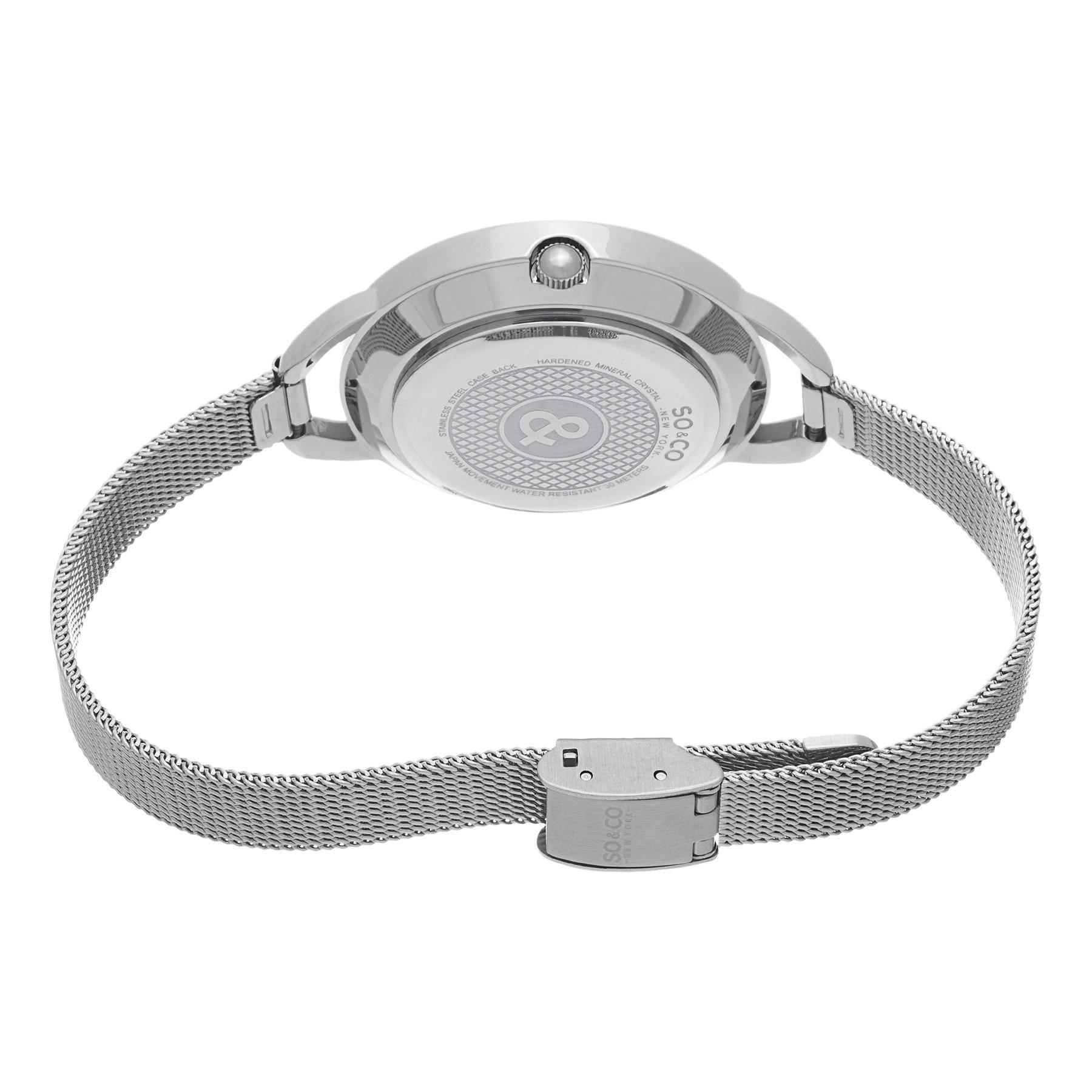 SO&CO New York Women's 5104.1 SoHo Quartz Faceted Glass and Stainless Steel Mesh Bracelet Watch
