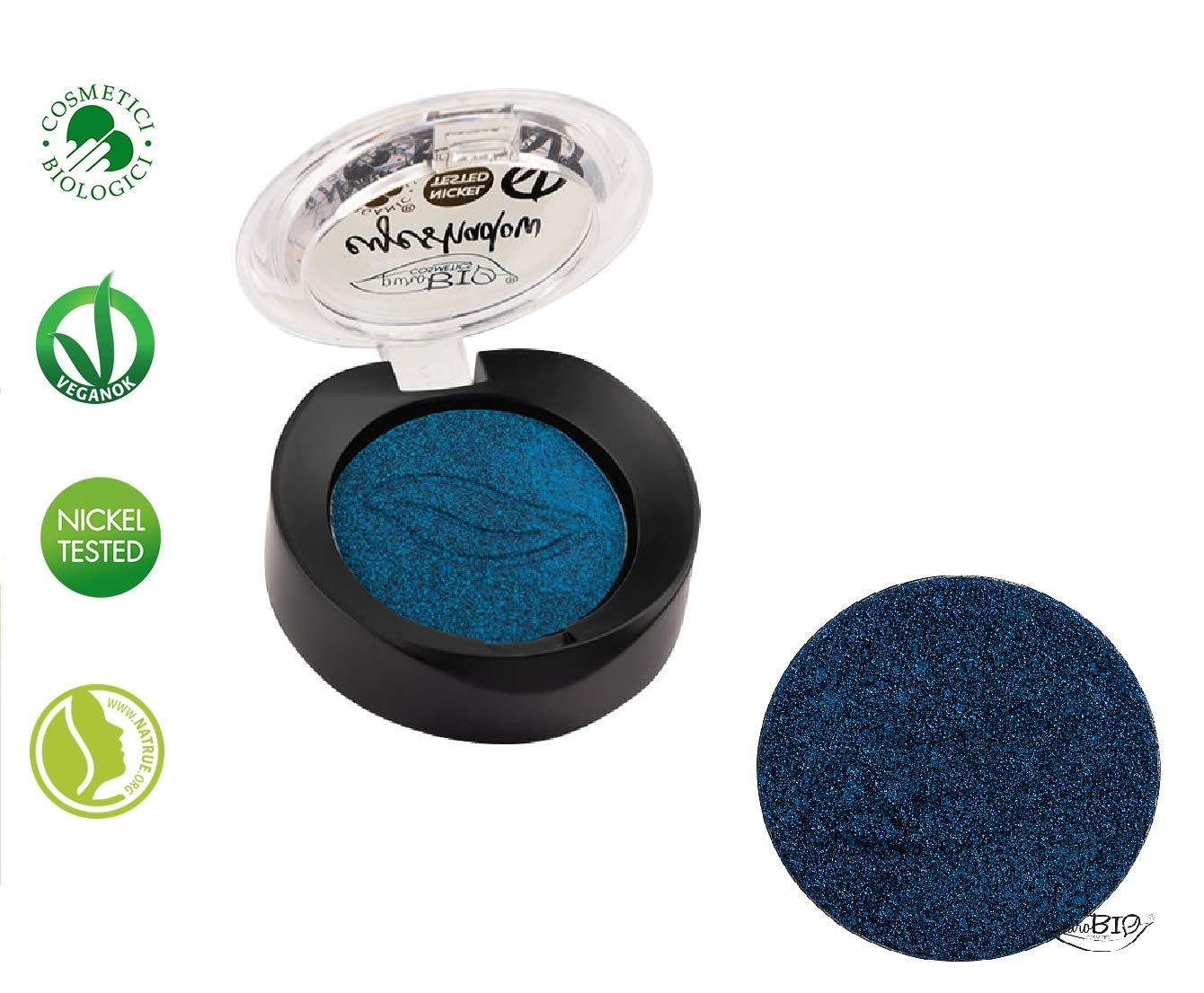 PuroBIO Certified Organic Highly-Pigmented and Long-Lasting Shimmery/Metallic Eyeshadow – no.07 Intense Blue – with Vitamins and Plant Oils.VEGAN.ORGANIC.MADE IN ITALY.