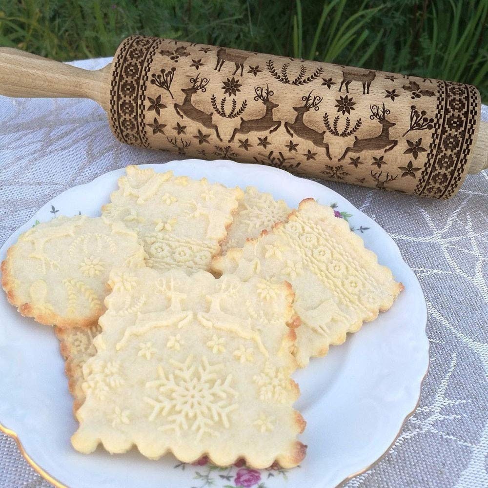 38 cm Rolling Pin, Engraved Embossing Rolling Pin with Christmas Symbols for Baking Embossed Cookies Hot Selling By Ugood