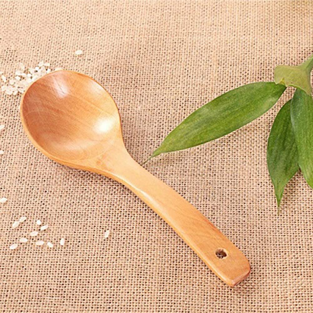quanjucheer Long Handle Wooden Spoon,Curved Soup Rice Big Spoon Home Restaurant Kitchenware L