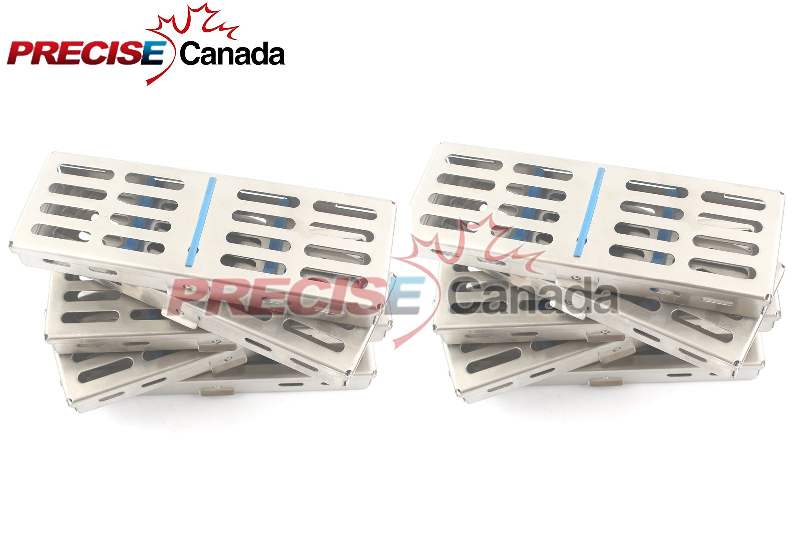 PRECISE CANADA: NEW SET OF 10 EACH GERMAN GRADE DENTAL AUTOCLAVE STERILIZATION CASSETTE RACK BOX TRAY FOR 5 INSTRUMENT NEW