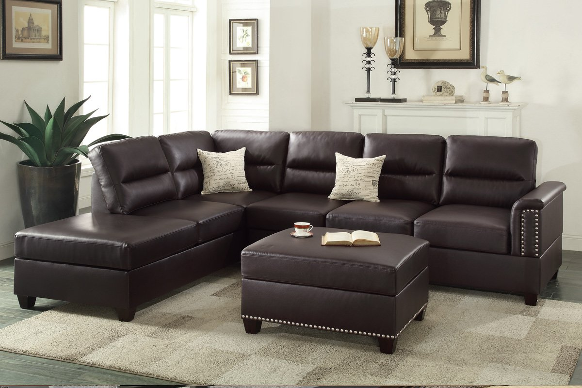 Amazon.com: Poundex F7609 Bobkona Toffy Bonded Leather Left Or Right Hand  Chaise Sectional With Ottoman Set, Espresso: Kitchen U0026 Dining