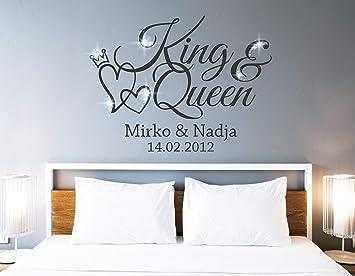 Tjapalo Pkm462 Wandtattoo King Queen Wandtattoo Schlafzimmer Liebe Wandsticker Schlafzimmer Romantisch Wandtattoo Paare Namen Und Datum Farbe