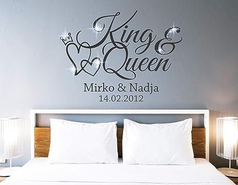 tjapalo® pkm462 Wandtattoo King Queen Wandtattoo Schlafzimmer Liebe  Wandsticker Schlafzimmer romantisch Wandtattoo paare Namen und Datum,  Farbe: ...