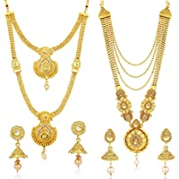 Sukkhi Jewellery Diamond Jewellery Set for Women (Yellow) (CBN83437)