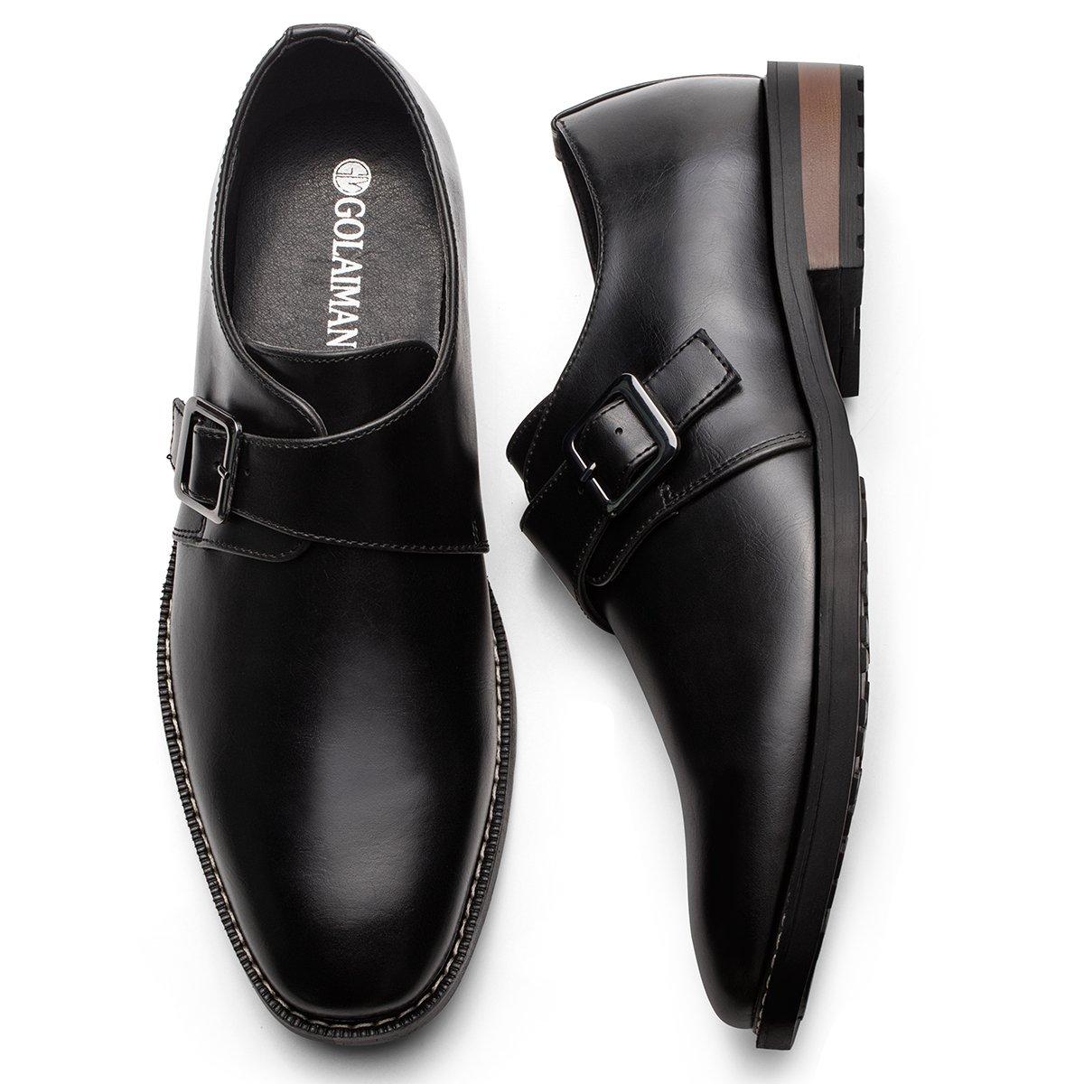 Men's Leather Oxford Dress Shoes Monk Strap Buckle Plain Toe Slip-On Loafer Black 10.5