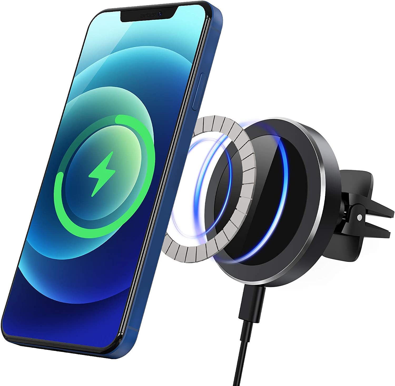 QI-EU Magnetic Wireless Car Charger, 15W Car Phone Mount Auto-Clamping Air Vent Holder, Fast Charging Stand for iPhone 12/12 Pro/Pro Max/12 Mini/X/XR/11/11 Pro Max/11 Pro/8 (with Magnet Sticker)