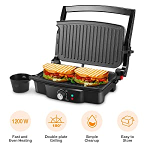 Panini Maker, iSiLER 4 Slice Panini Press Grill, Sandwich Maker with 2 Removable Drip Tray, Non-Stick Coated Plates, Opens 180 Degrees for Panini, Grilled Burgers, Steaks, Bacon