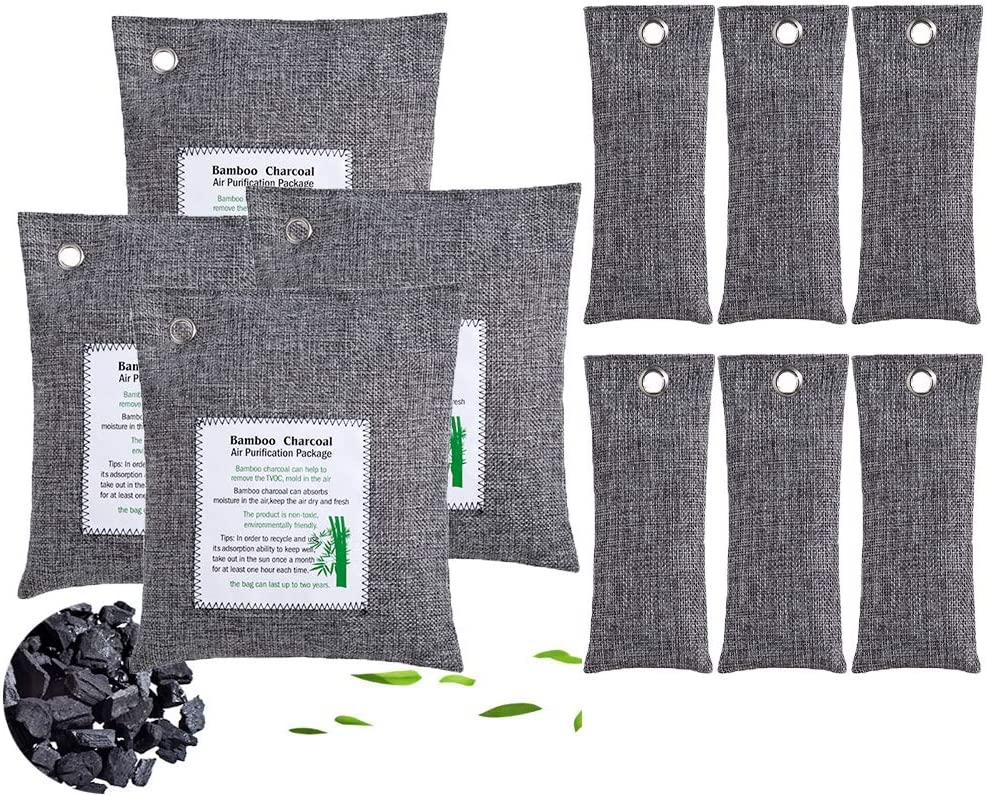 KEEOU 10packs Bamboo Charcoal Air Purifying Bags, Efficient Odor Eliminators for Home, Natural Non-Toxic Activated Charcoal Odor Absorber Air Freshener for Home Closet Fridge Car (4x200g+6x50g)