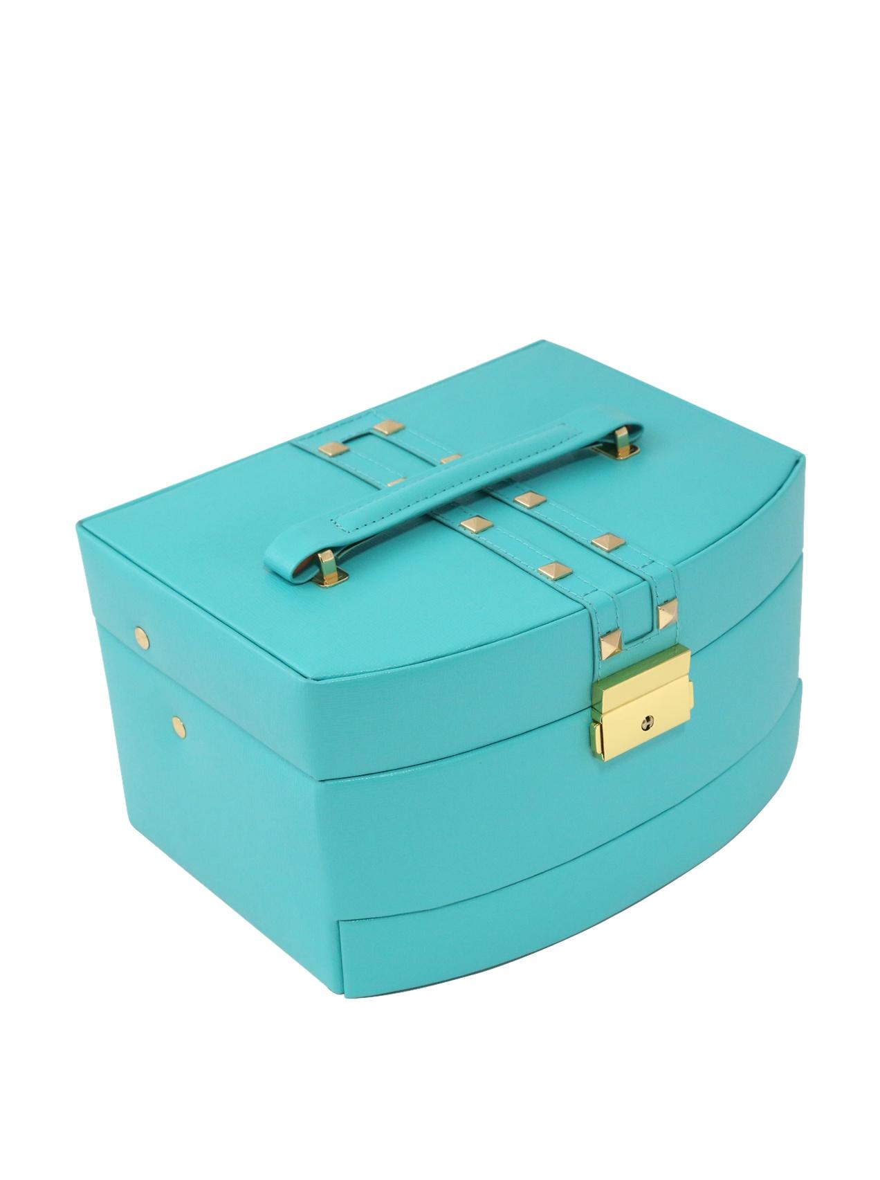 Bey-Berk International 3-Level Hinged Leather Jewelry Box, Turquoise by Bey-Berk International Inc