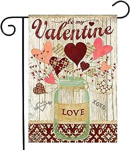 "Briarwood Lane Lovely Hearts Valentine's Day Garden Flag Mason Jar 2.5"" x 18"""