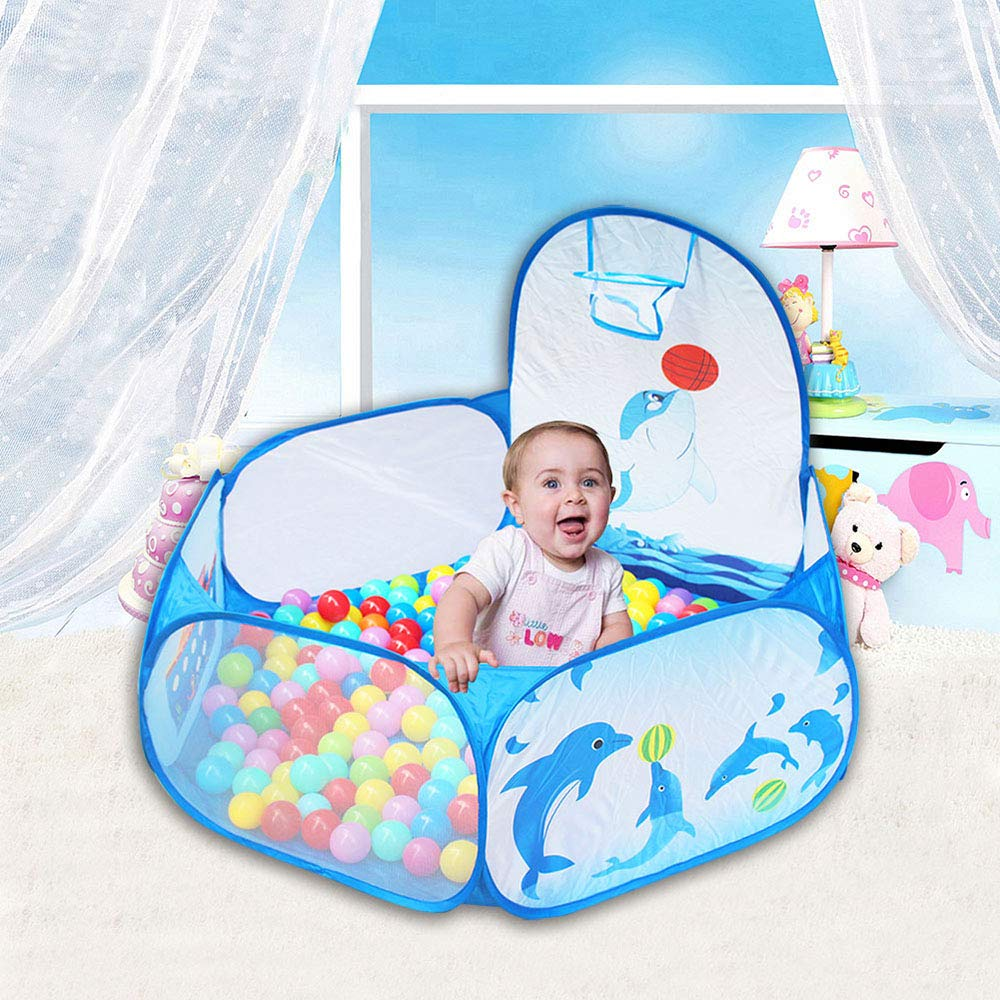 Kids Ball Pit Ball Tent, Likorlove Toddler Ball Pit with Basketball Hoop and Zippered Storage Bag,4 Ft Sea Ball Pool for Indoor Outdoor(Balls not Included),Blue