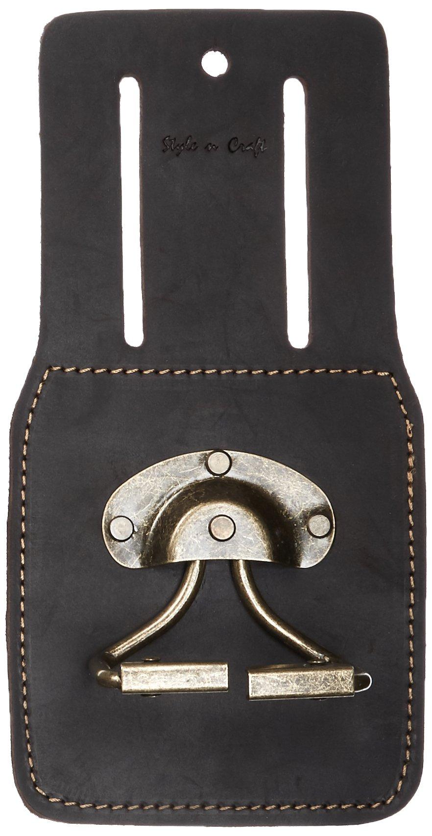 Style n Craft 74440 Spring Loaded Swivel Hammer/Hatchet Holder in Heavy Top Grain Oiled Leather, Dark Brown
