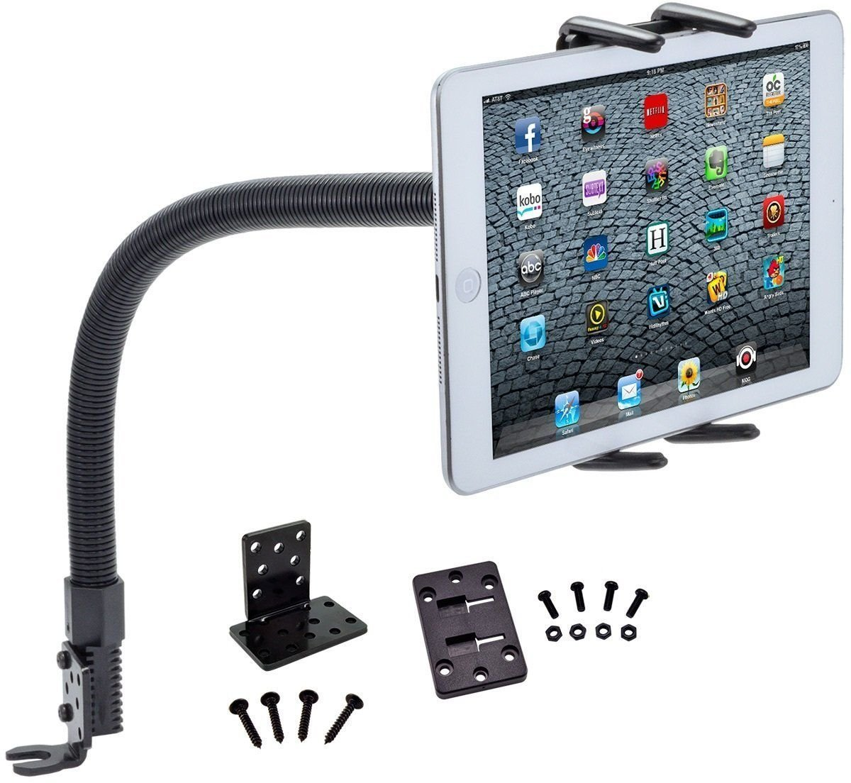 "Tablet Car Mount, Robust Tablet Car Holder Gooseneck Flex Truck Mount for Apple iPad Pro 12.9 11 10.5 9.7 iPad Air iPad Mini Tablet (All 7-13"") w/Anti-Vibration Swivel Cradle (with or Without case)"