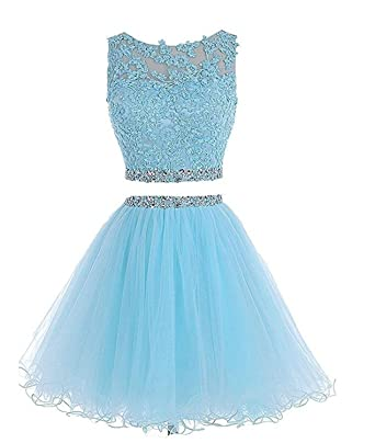 WiWiBridal 2017 Womens Two Piece Prom Dress Short Beading Homecoming Dresses For Juniors WWW002