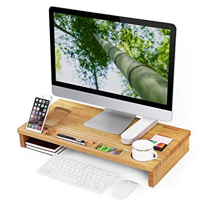 Amazon Com Songmics Bamboo Wood Monitor Stand Computer Riser With