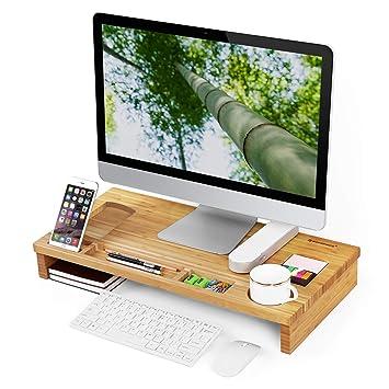 Soporte elevado de madera de bambú para monitor de ordenador Natural ULLD201 de Songmics, con