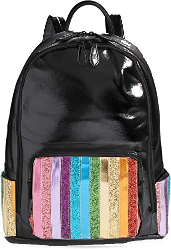 Bari Lynn Rainbow Glitter Stripe Metallic Black Backpack
