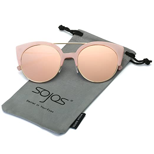 5e87fd15322 SOJOS Womens Retro Vintage Half Metal Frame Cateye Sunglasses SJ2035 with  Pink Frame Pink Mirrored