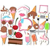 Ice Cream Shoppe Photo Booth Props Kit - 20 Pack Party Camera Props Fully Assembled