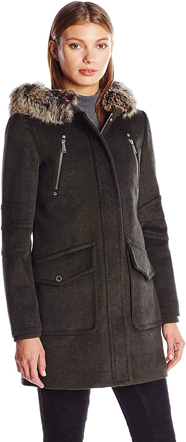 kensie Womens Short Duffle Coat with Front Plackets and Faux Fur Trimmed Hood
