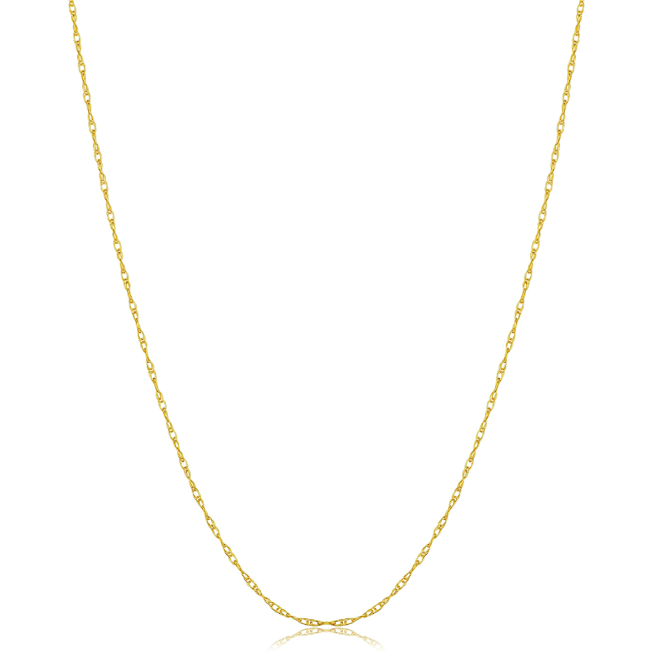 Kooljewelry Solid 14k Yellow Gold Dainty Rope Chain Necklace (0.8 mm, 18 inch)