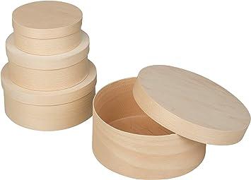 Smart-Planet® - Juego de 4 cajas de madera para manualidades y decoración, madera de aglomerado, color natural: Amazon.es: Bricolaje y herramientas