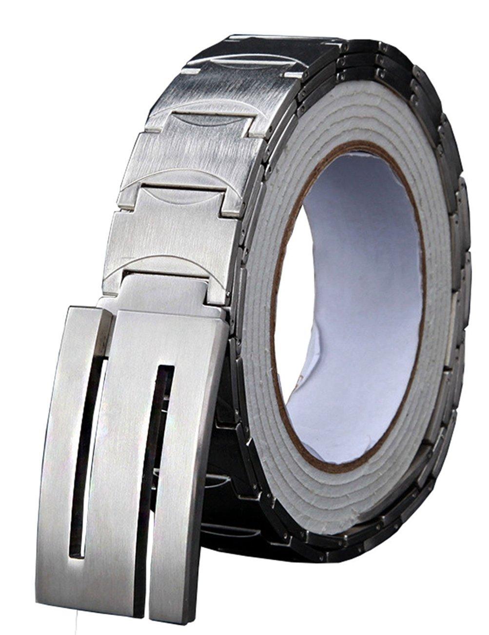 Menschwear Men's Stainless Steel Belt Slide Buckle Adjustable 32mm 155 Silver 110cm
