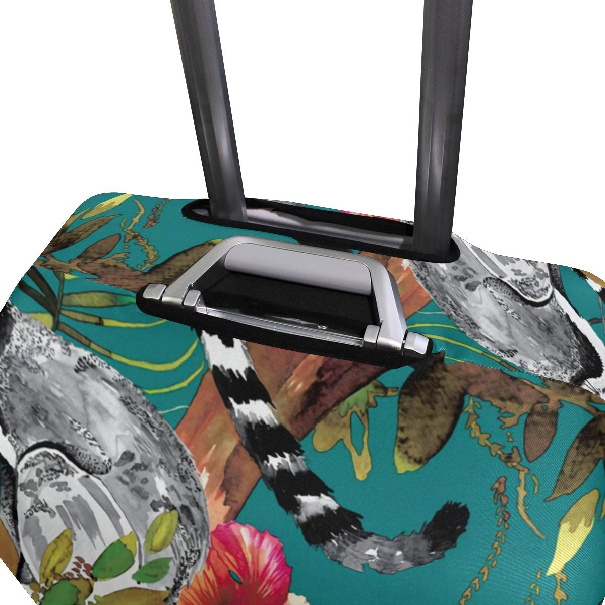 FANTAZIO Animal Lemur And Floral Suitcase Protective Cover Luggage Cover