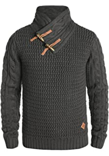Redefined Rebel Mikel Herren Winter Pullover Strickpullover Grobstrick  Pullover mit Cross-Over Schalkragen und Knebelverschluss c7163a856e