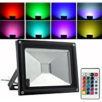 AUTOUTLET 20W 16 Colour RGB LED Floodlight Waterproof IP65 Security Flood Light Outdoor with Remote Control