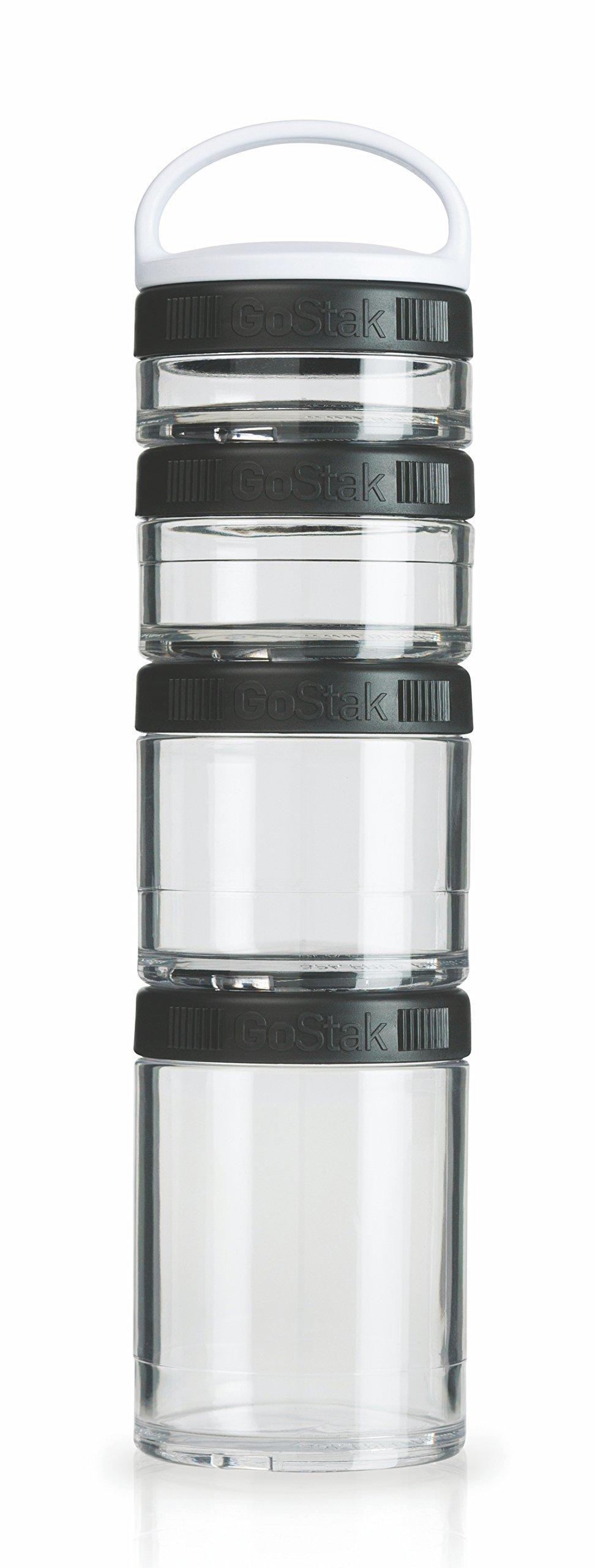 BlenderBottle GoStak Twist n' Lock Storage Jars, 4-Piece Starter Pak, Black
