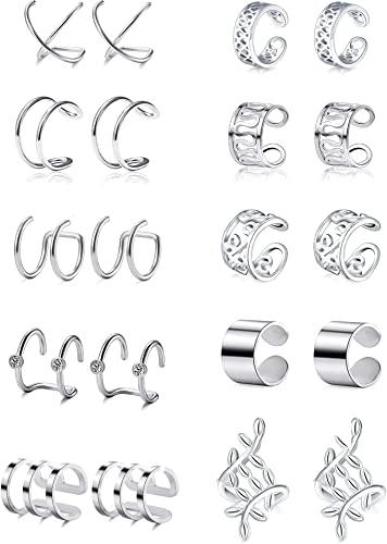Pendientes trepadores de plata dorada modelo Circles Silver /& Steel
