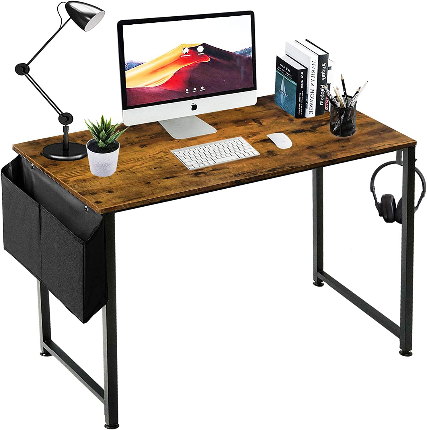 Small Computer Desk Study Table for Small Spaces Home Office 39 Inch Rustic Student Writing Des with Storage Bag,Brown