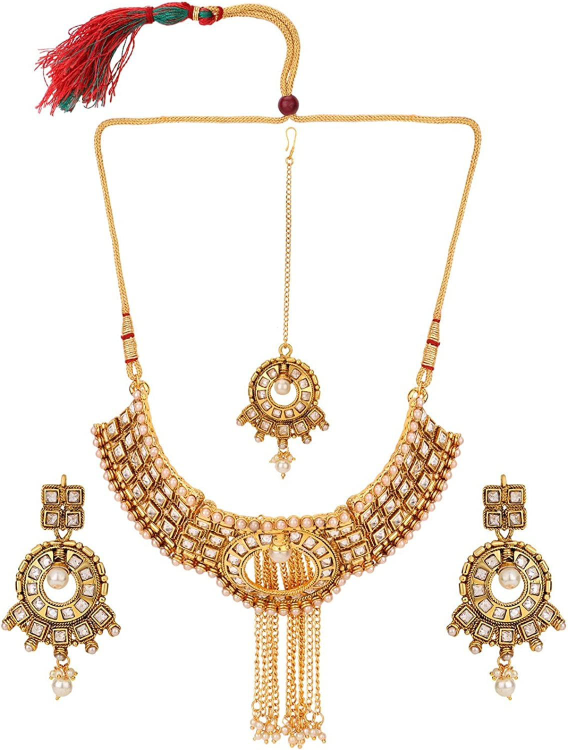 Efulgenz Indian Ethnic Bollywood Traditional White Rhinestone Heavy Bridal Designer Jewelry Choker Necklace and Earrings Jewelry Set in Antique 18K Gold Tone for Women and Girls