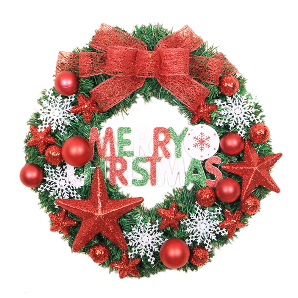 Red Merry Christmas Christmas Wreath Garland Ornaments Arcades Hotel Christmas Decorations