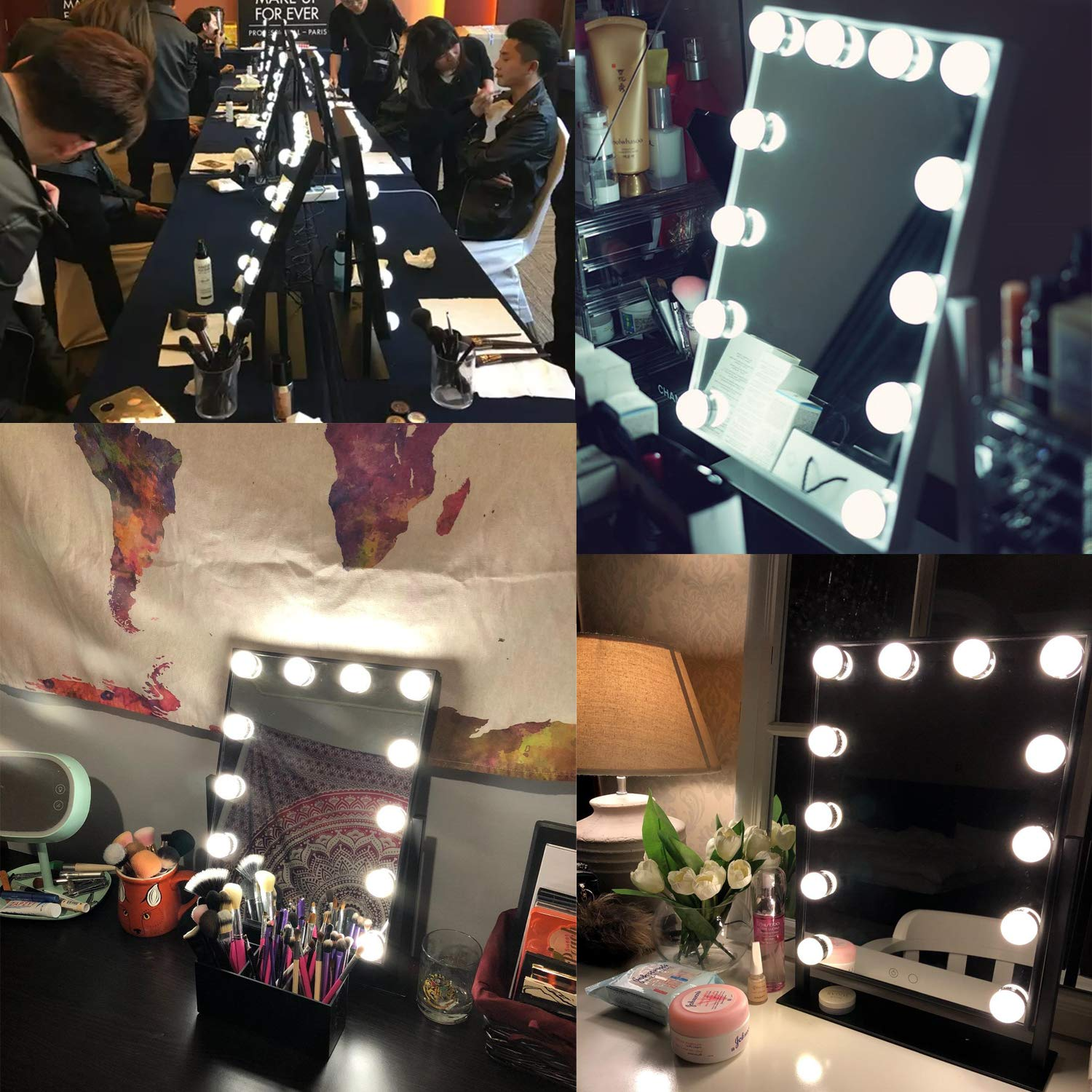 AIMEE-JL White Large Makeup Mirror Touch Screen with 12 Big LED Bulbs Lighted Mirrors Adjustbale Brightness