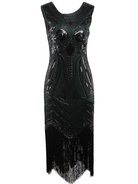 Dark Green Vijiv Long Prom 1920's Vintage Gatsby Bead Sequin Art Nouveau Deco Flapper Dress